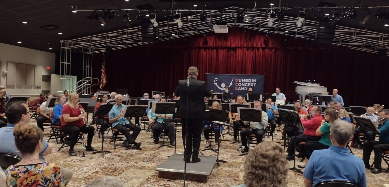Maestro Stephen P Brown, General Director of the Dunedin Music Society, conducts the Dunedin Concert Band's 2021 Summer Concert.